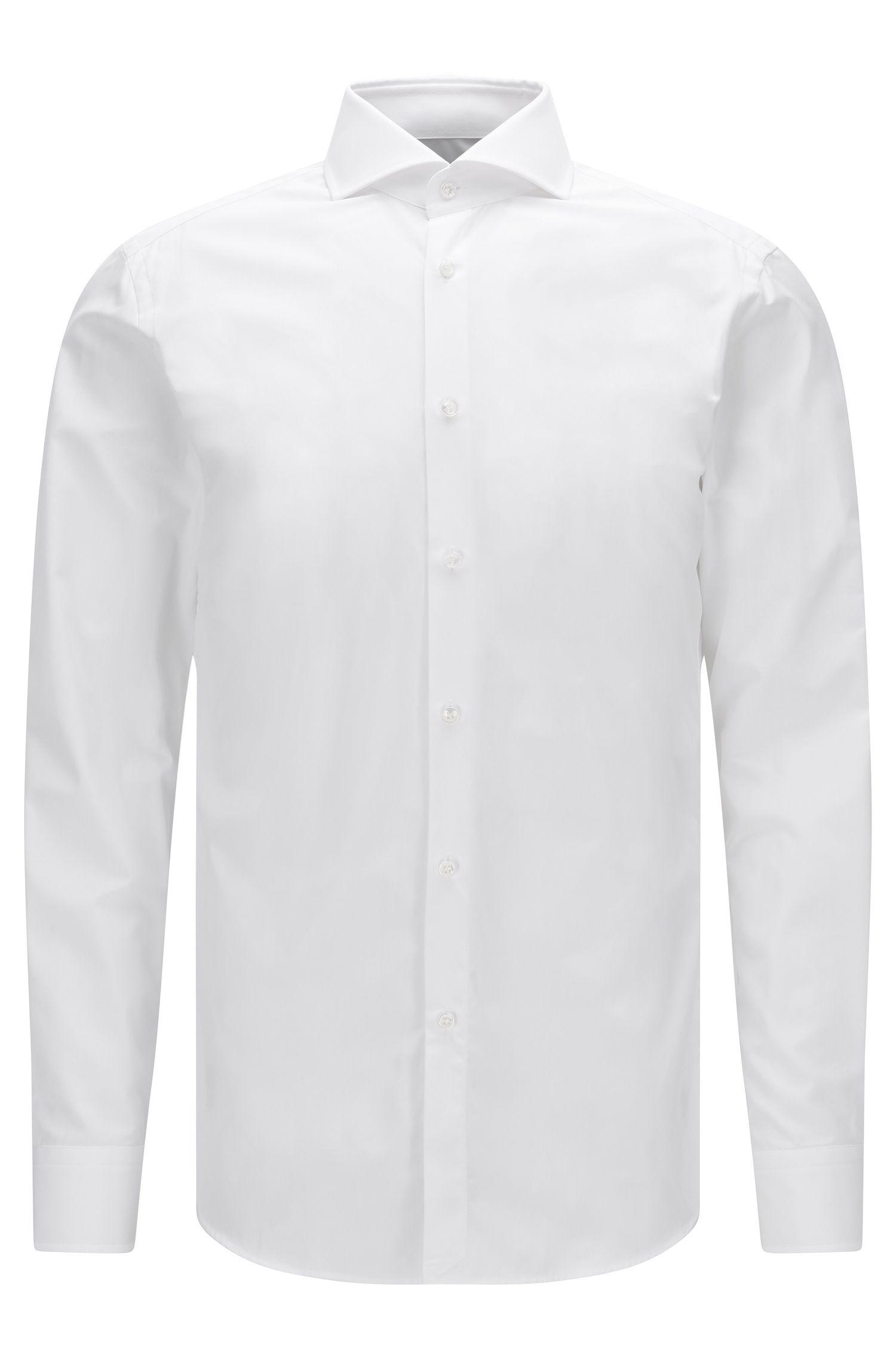 Slim-fit overhemd van tweedraads katoen met parelmoerknopen