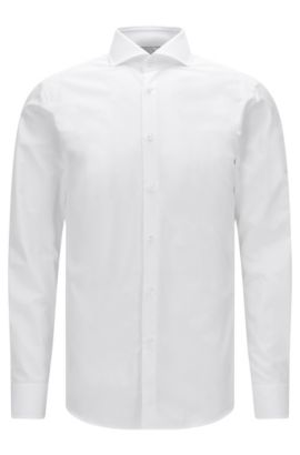 Slim-fit shirt in two-ply cotton with mother-of-pearl buttons, White