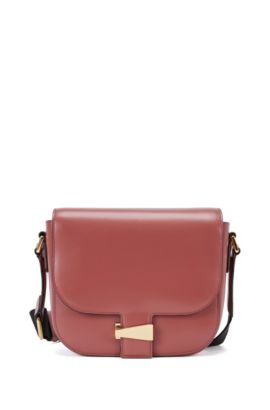 Leather shoulder bag with flap closure, Open Brown