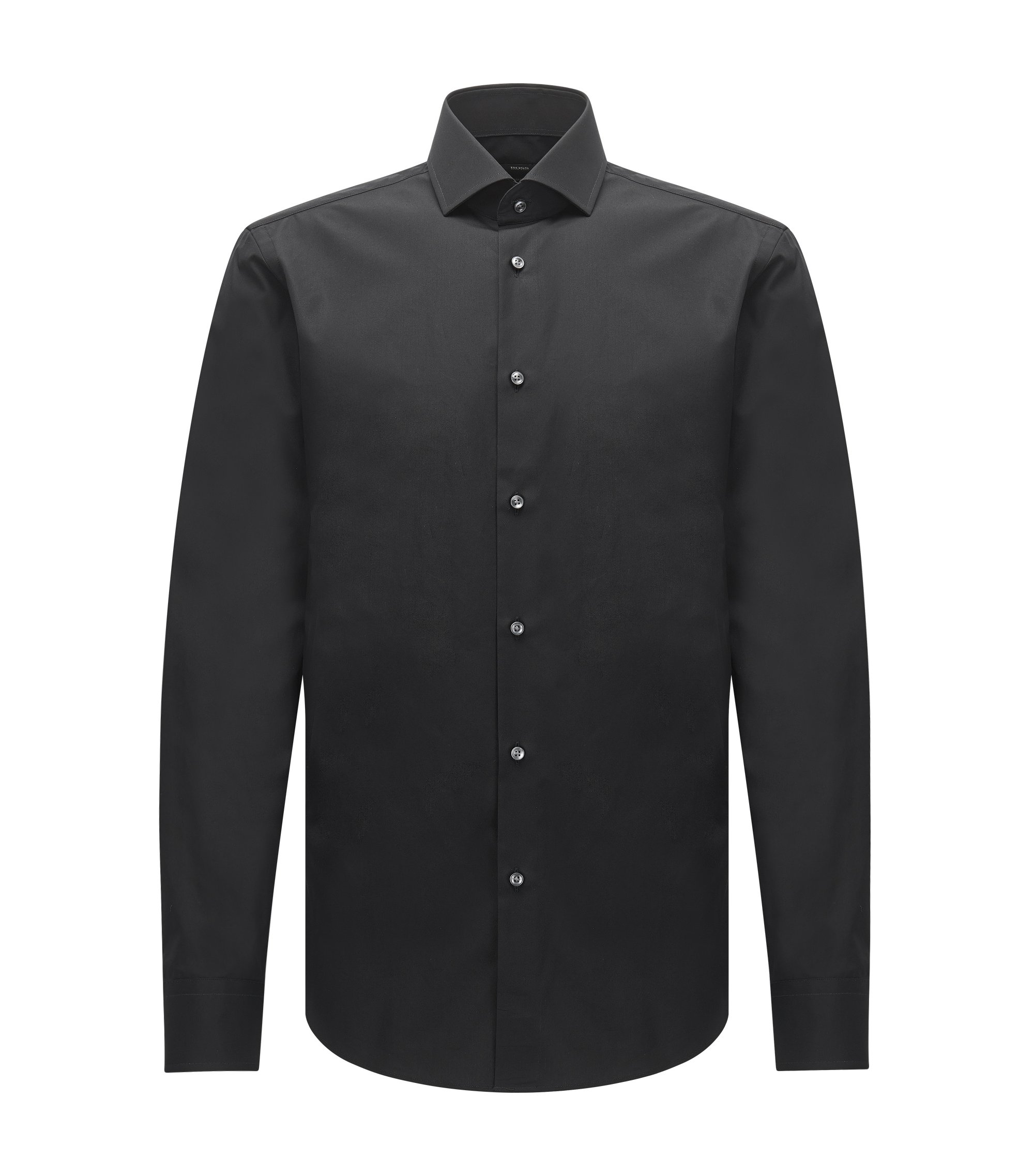 Chemise Regular Fit en coton italien double retors, Noir