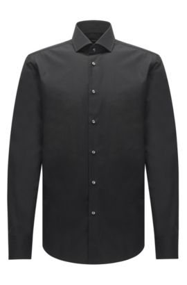 Regular-fit shirt in Italian two-ply cotton, Black