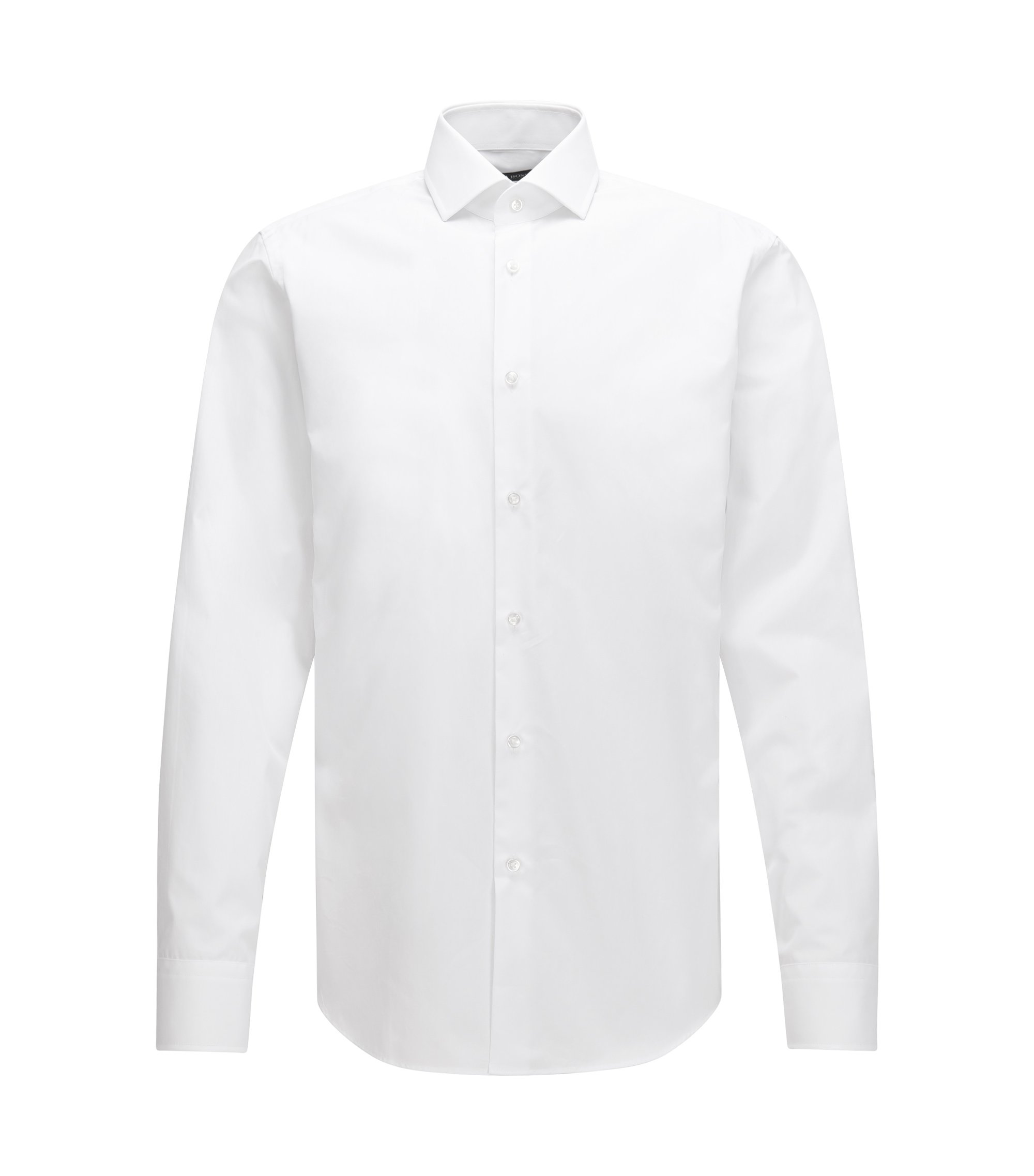 Chemise Regular Fit en coton italien double retors, Blanc
