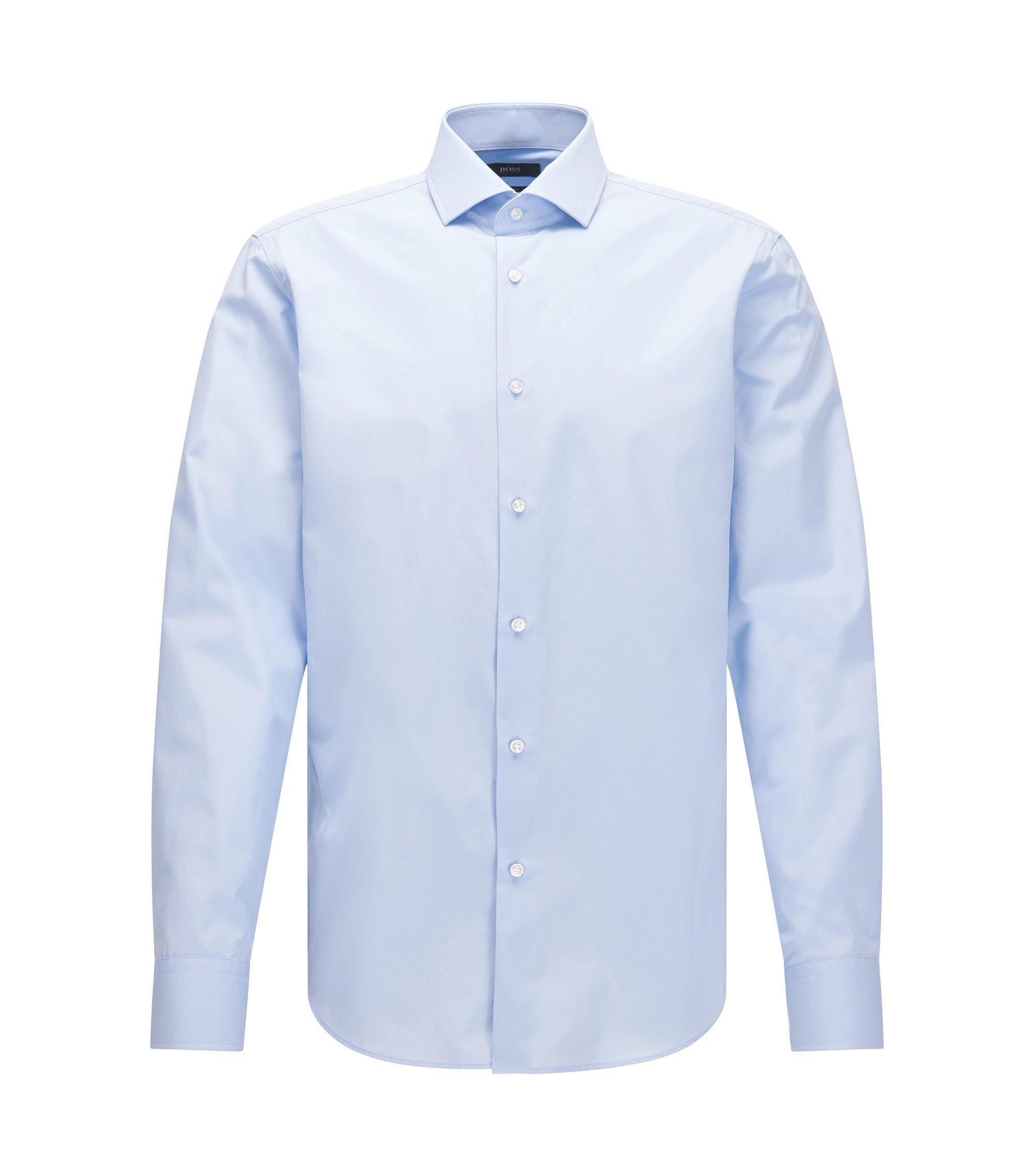 Regular-fit overhemd van Italiaanse tweedraads katoen, Lichtblauw