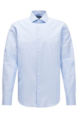 Regular-fit shirt in Italian two-ply cotton, Light Blue