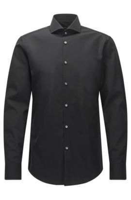 Slim-fit Italian-made shirt in two-ply cotton, Black