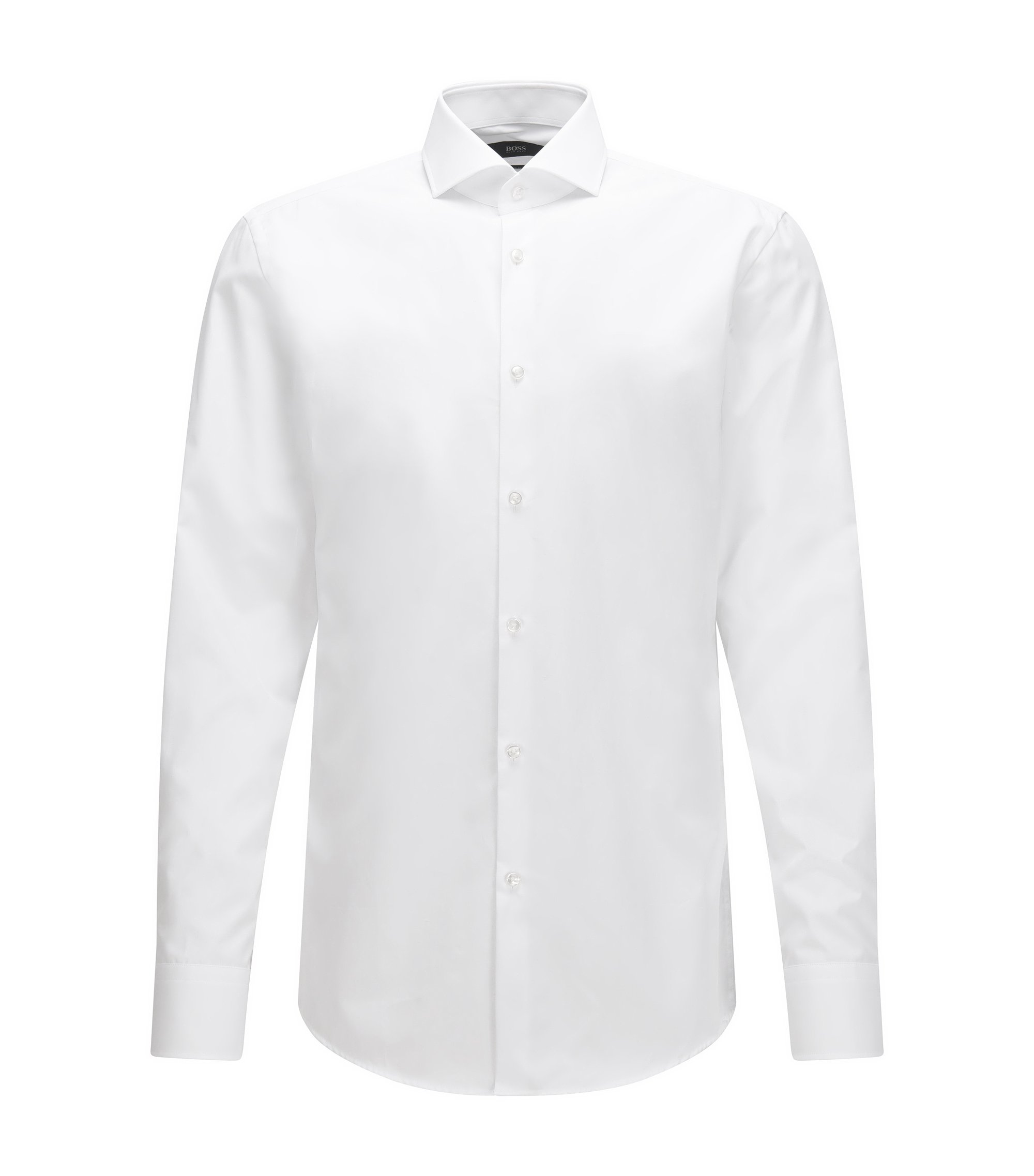 In Italien gefertigtes Slim-Fit Hemd aus Vollzwirn-Baumwolle, Weiß