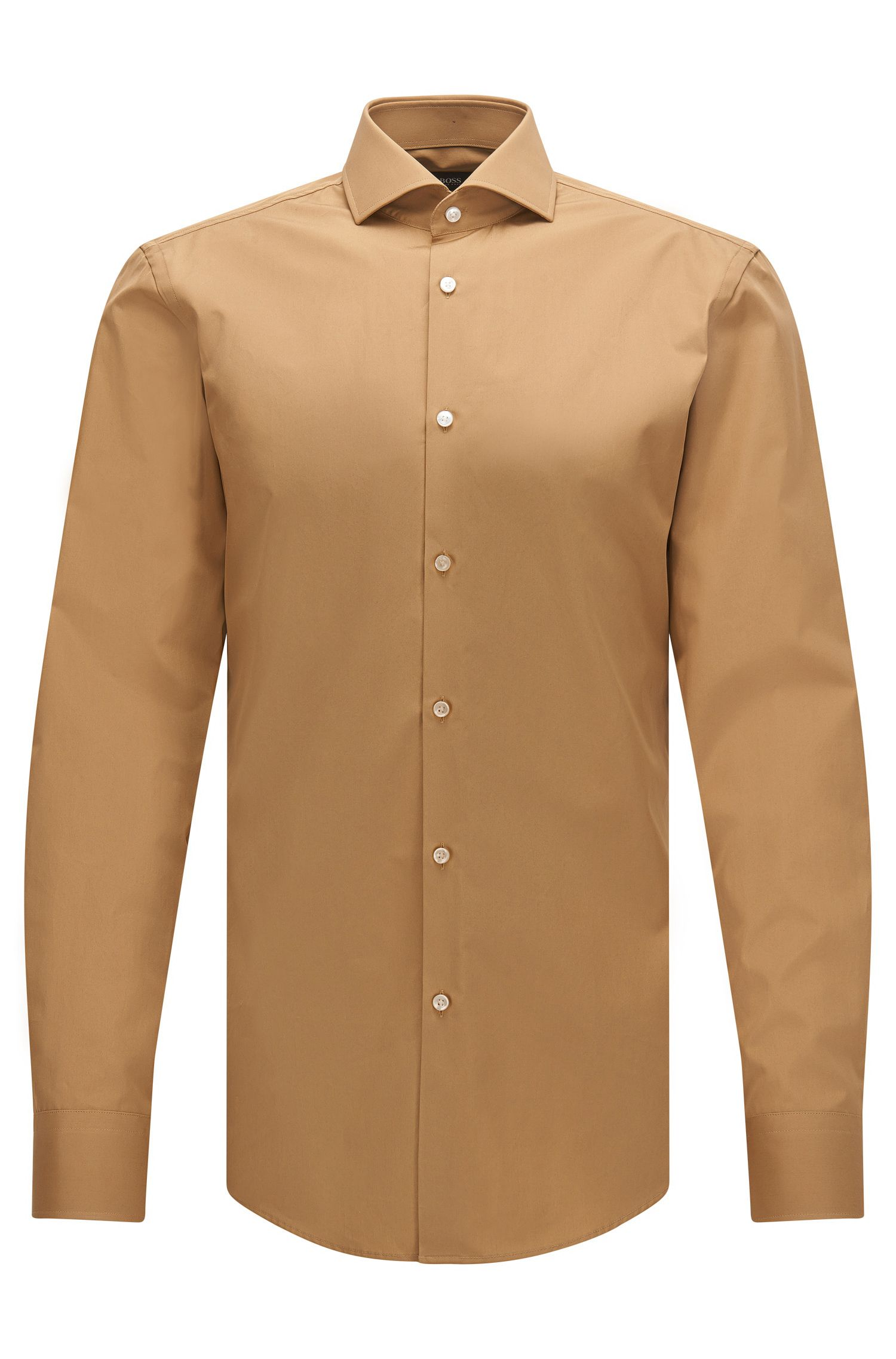 Slim-fit Italian-made shirt in two-ply cotton