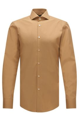 Slim-fit Italian-made shirt in two-ply cotton, Beige