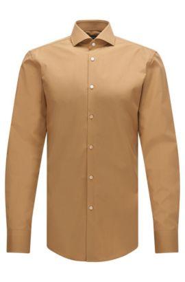 In Italien gefertigtes Slim-Fit Hemd aus Vollzwirn-Baumwolle, Beige