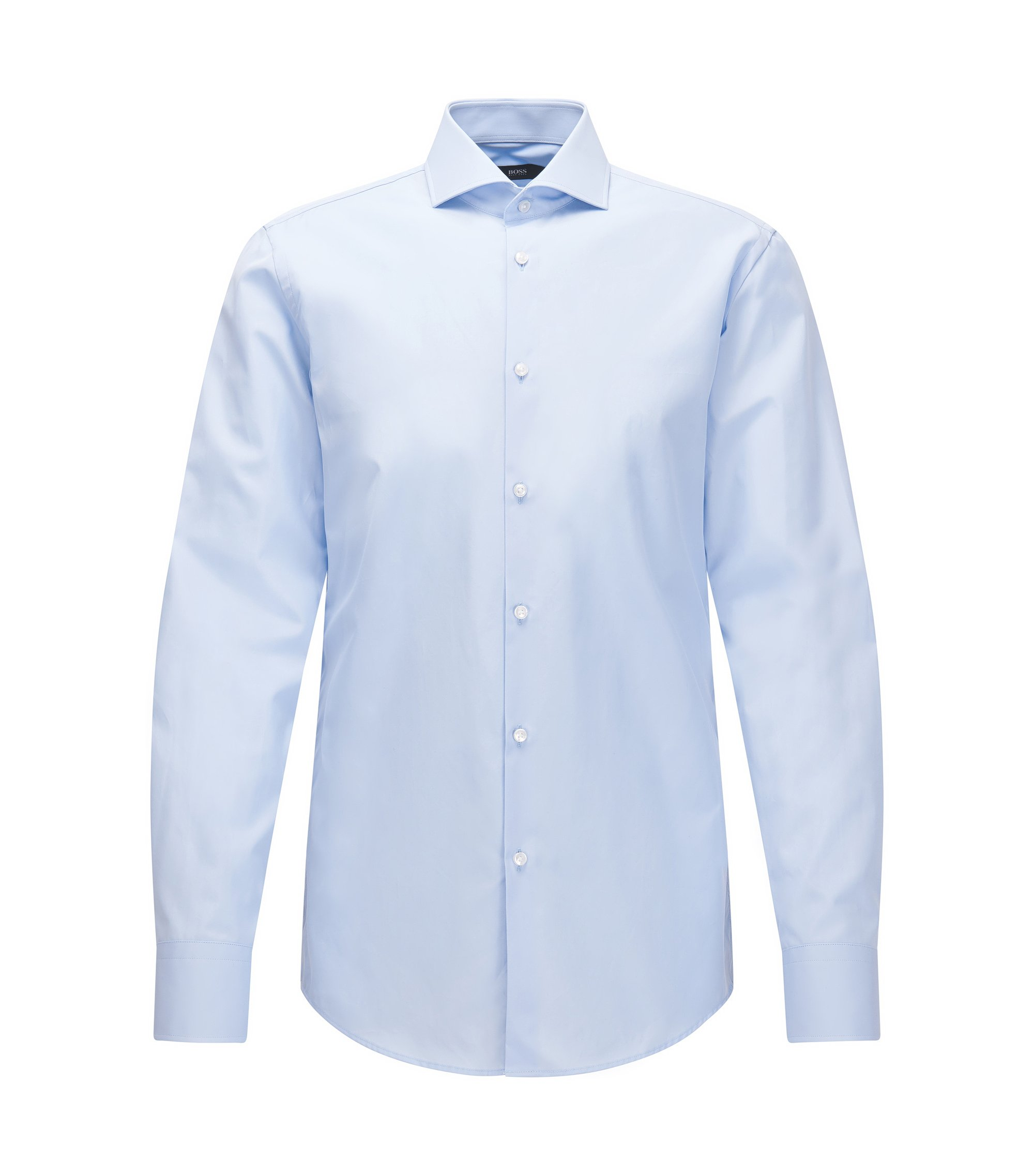 Slim-fit Italian-made shirt in two-ply cotton, Light Blue