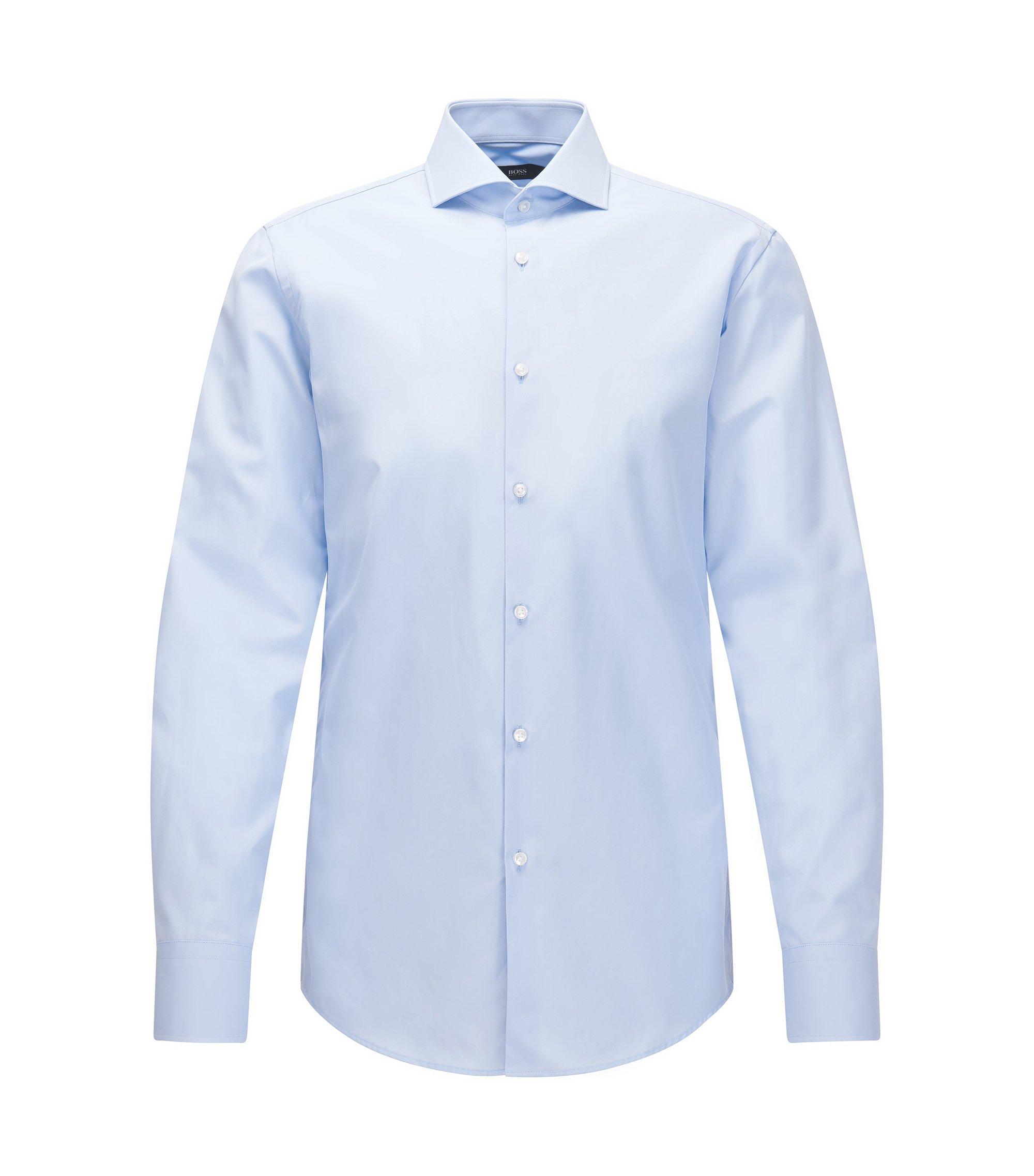 In Italien gefertigtes Slim-Fit Hemd aus Vollzwirn-Baumwolle, Hellblau