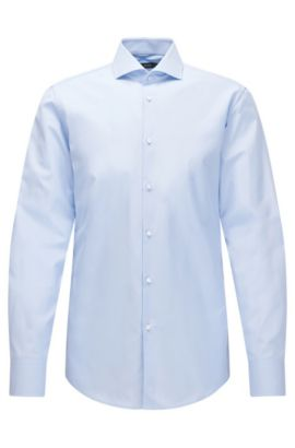 Camisa slim fit elaborada en Italia en algodón de dos capas, Celeste
