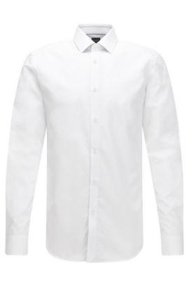 Camicia slim fit in cotone con dettagli a contrasto, Bianco
