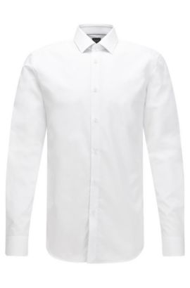 Slim-fit cotton shirt with contrast details, White