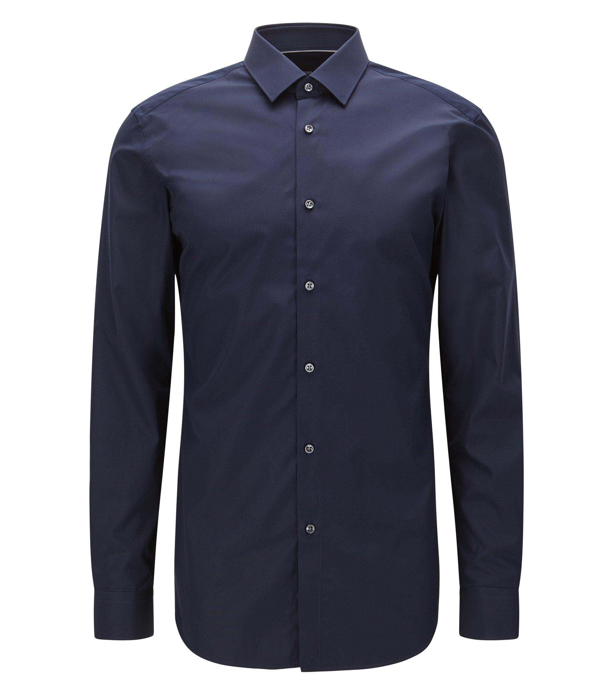 Slim-fit Italian cotton shirt with contrast details, Dark Blue