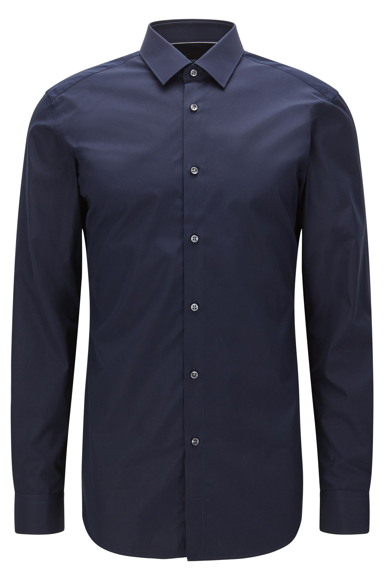 Slim-fit overhemd van katoen met contrastdetails