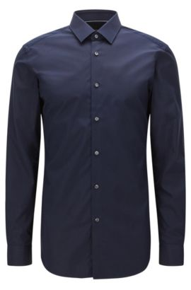 Slim-fit cotton shirt with contrast details, Dark Blue