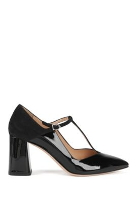 T-bar pumps in leather with flared heel, Black