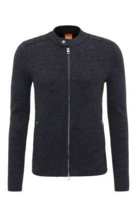 Slim-fit cotton cardigan with moto styling, Dark Blue