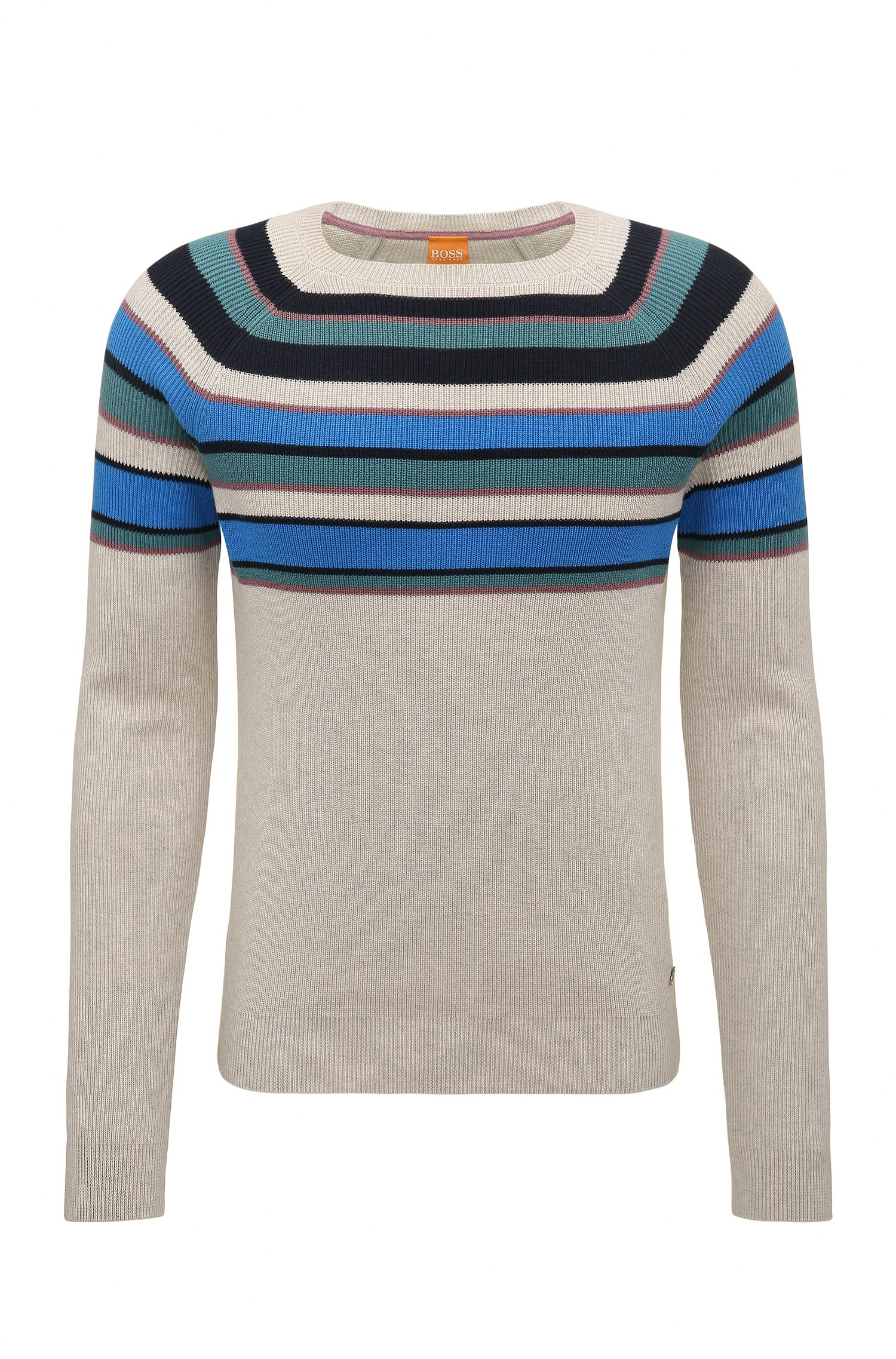 Regular-Fit Baumwoll-Pullover mit Colour-Block-Design