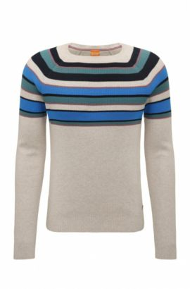 Regular-fit cotton sweater with colourblocking, Open White