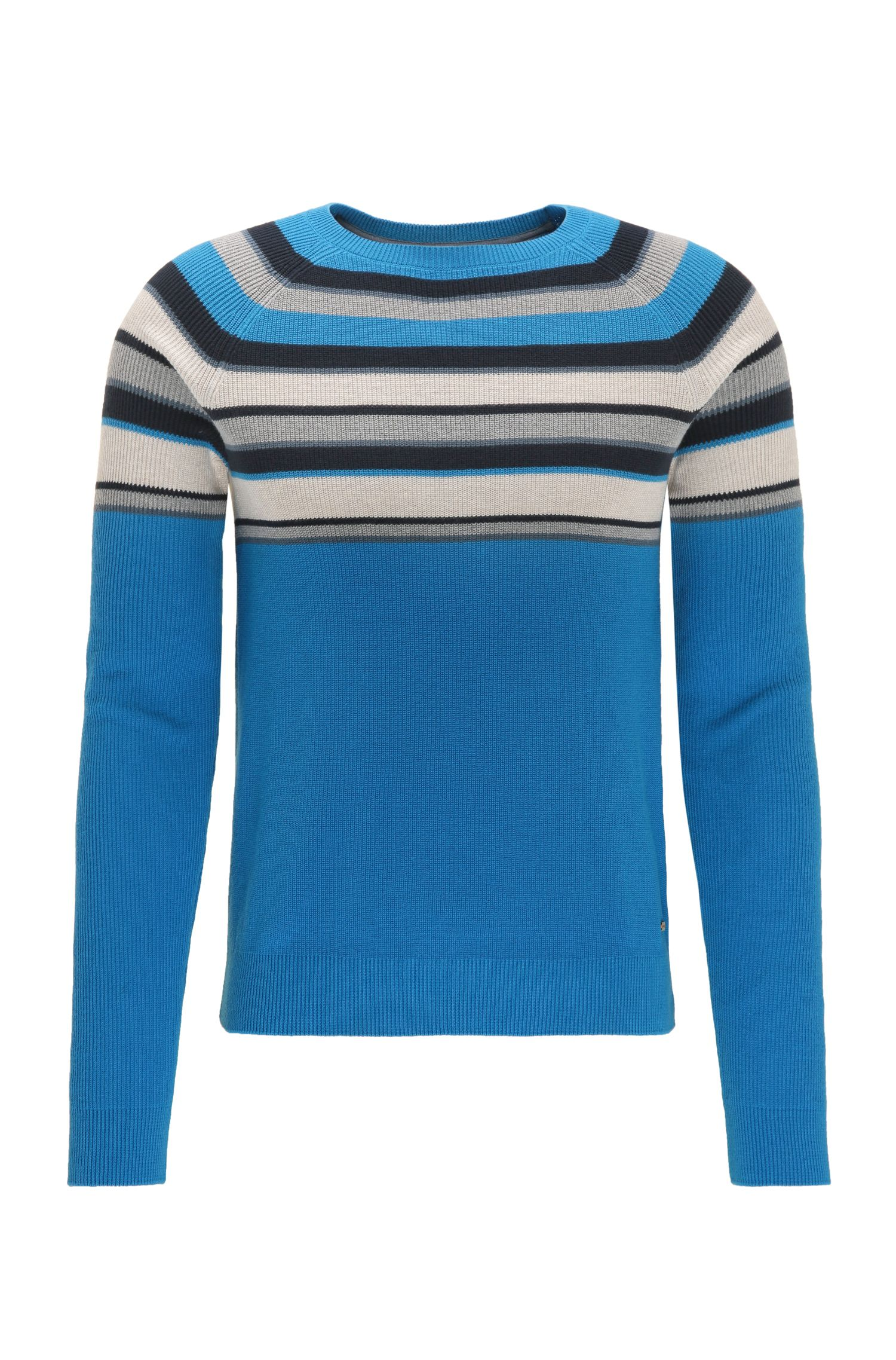 Regular-fit cotton sweater with colourblocking