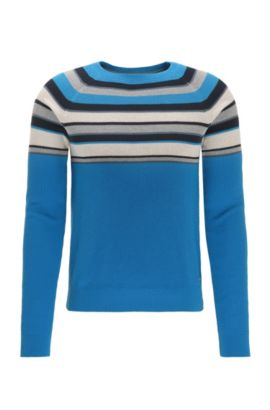 Pull Regular Fit en coton colour block, Bleu foncé