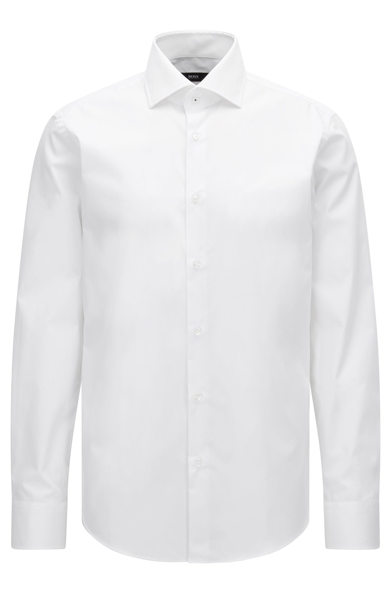 Regular-fit shirt in plain cotton poplin