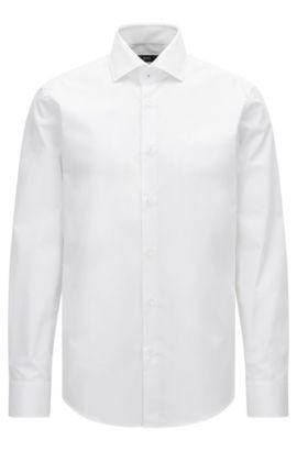 Regular-Fit Hemd aus unifarbener Baumwoll-Popeline, Weiß