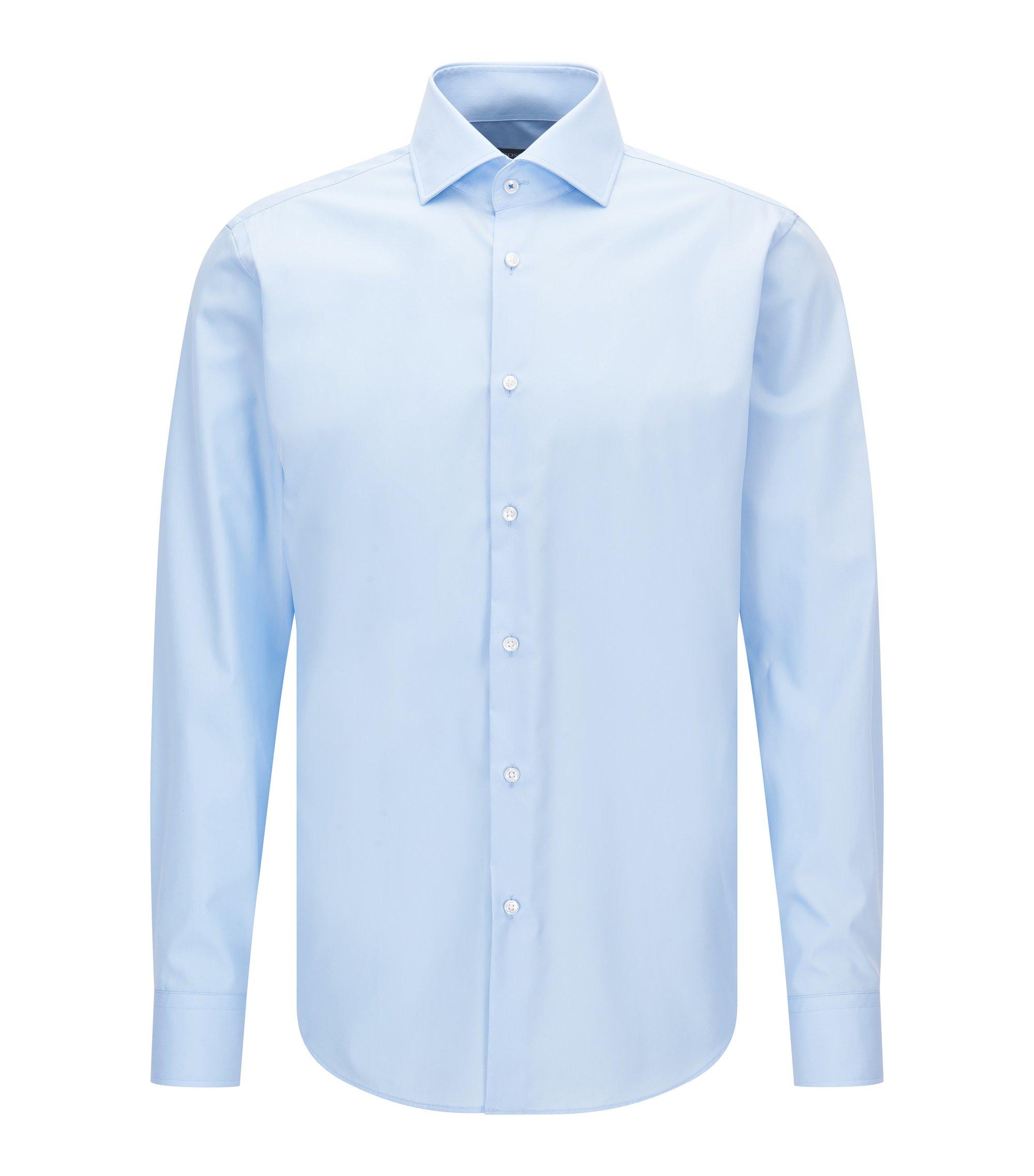 Regular-fit overhemd van effen katoenen popeline, Lichtblauw