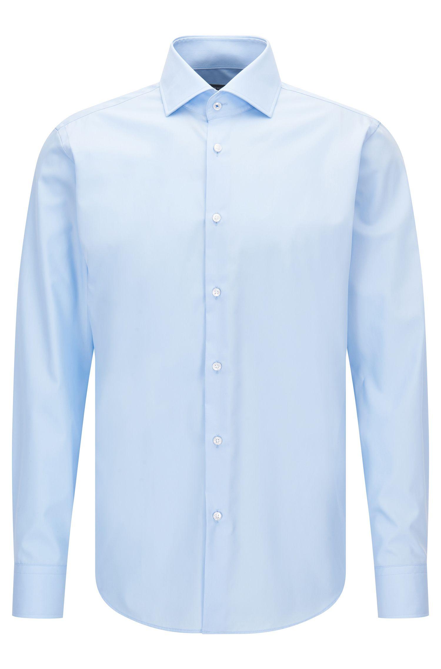 Camisa regular fit en popelín de algodón liso