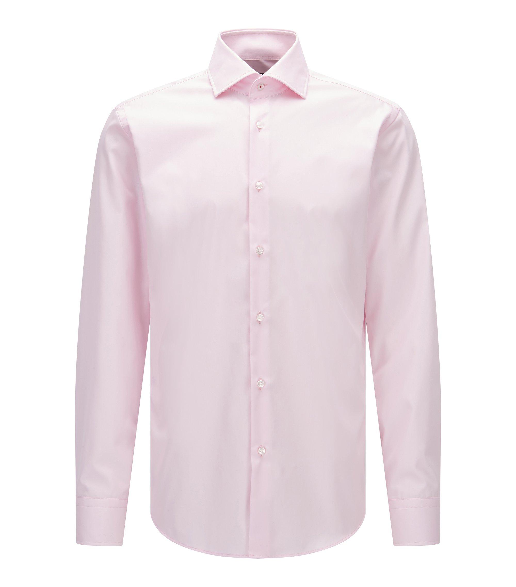 Regular-fit overhemd van effen katoenen popeline, Lichtroze