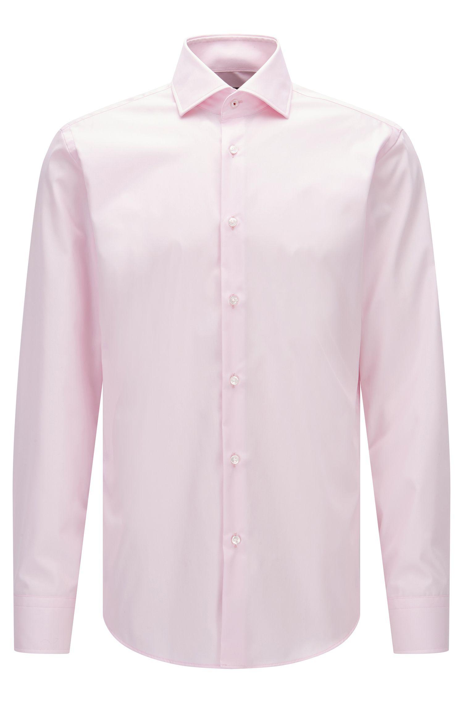 Regular-Fit Hemd aus unifarbener Baumwoll-Popeline