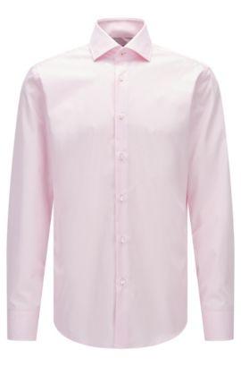 Regular-Fit Hemd aus unifarbener Baumwoll-Popeline, Hellrosa