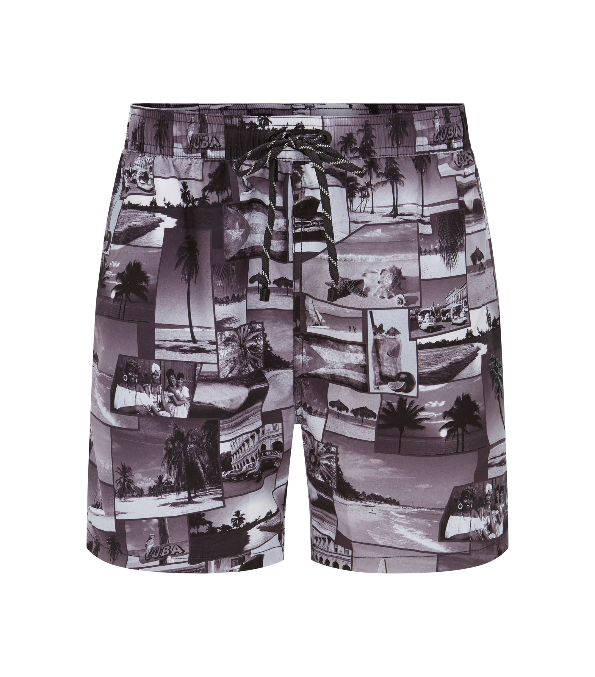 Island-print swim shorts in quick-drying fabric, Grey