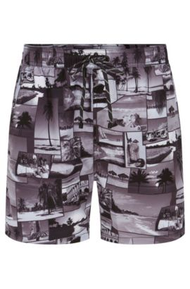 Island-print swim shorts in quick-drying fabric, Open Grey