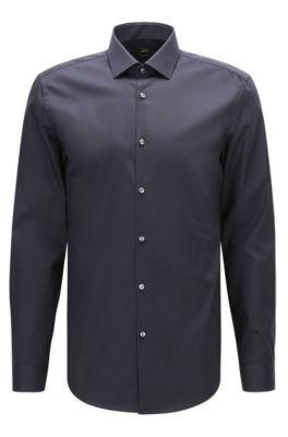 Slim-fit overhemd van Oostenrijks katoenen popeline , Donkerblauw