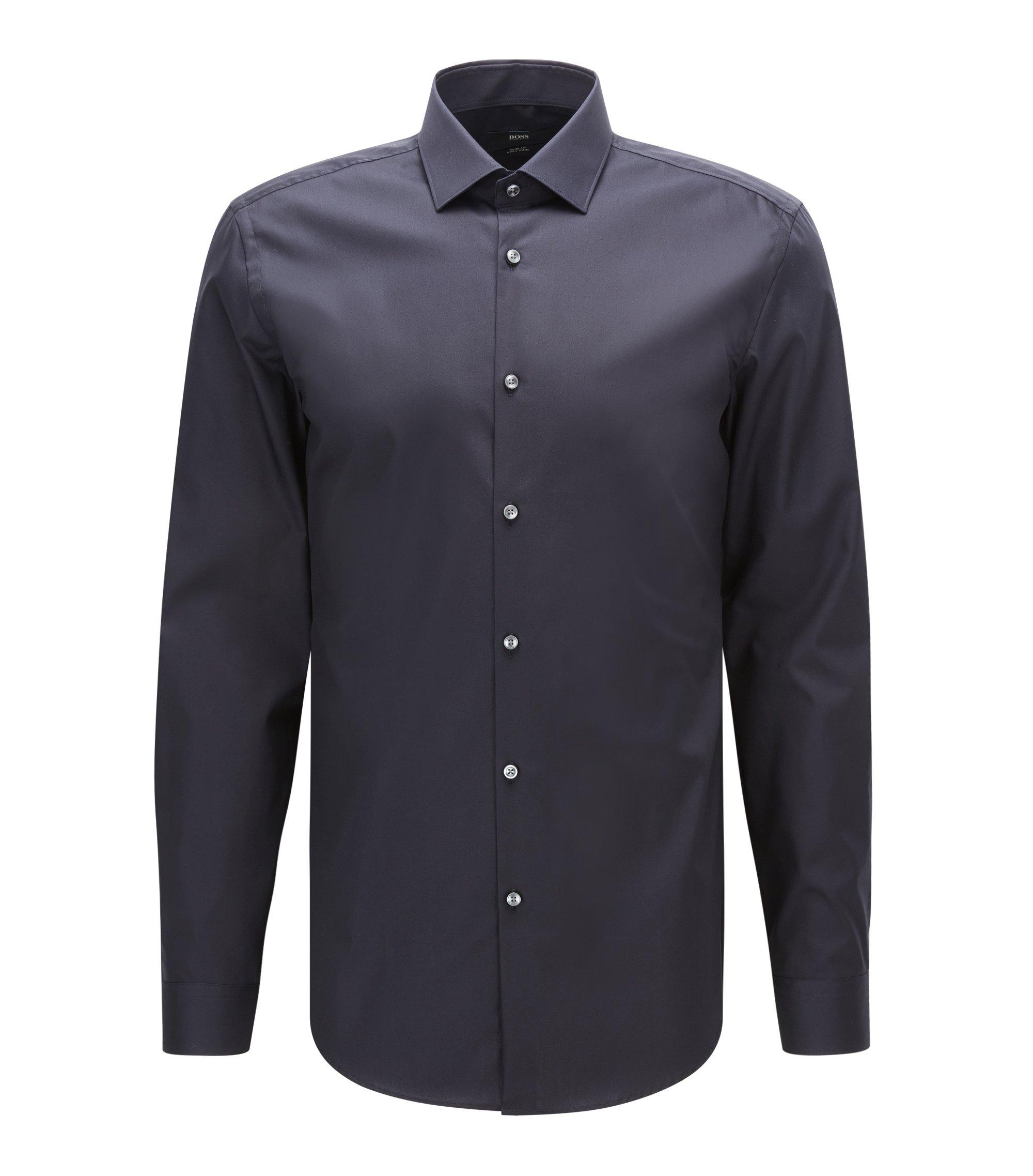 Camicia slim fit in popeline di cotone in tinta unita , Blu scuro