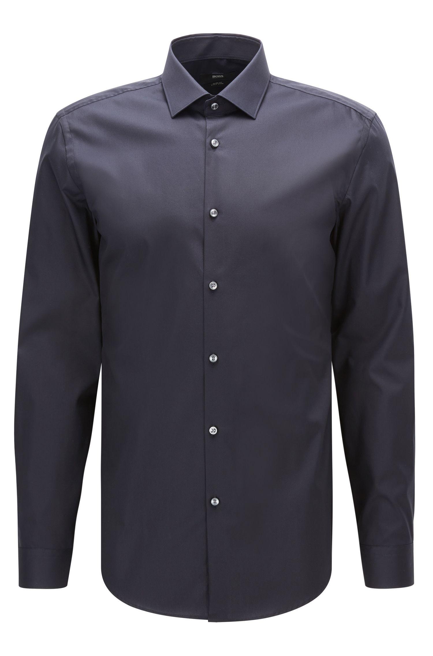 Slim-fit overhemd van effen katoenen popeline