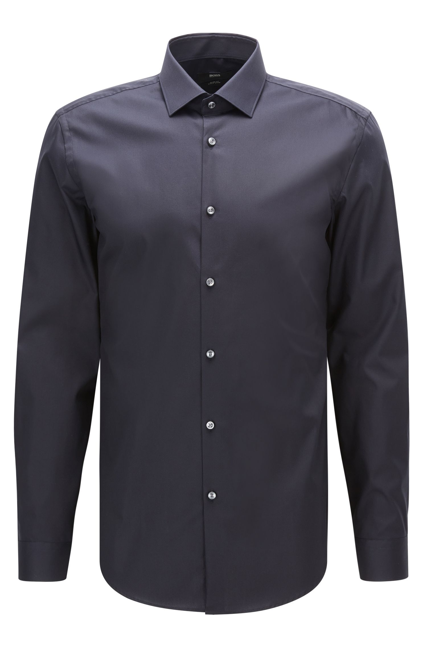 Plain slim-fit cotton poplin shirt
