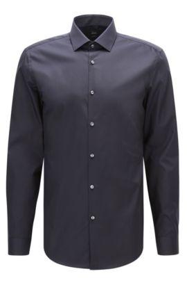 Slim-fit overhemd van effen katoenen popeline , Donkerblauw