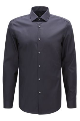 Camisa slim fit en popelín de algodón liso , Azul oscuro