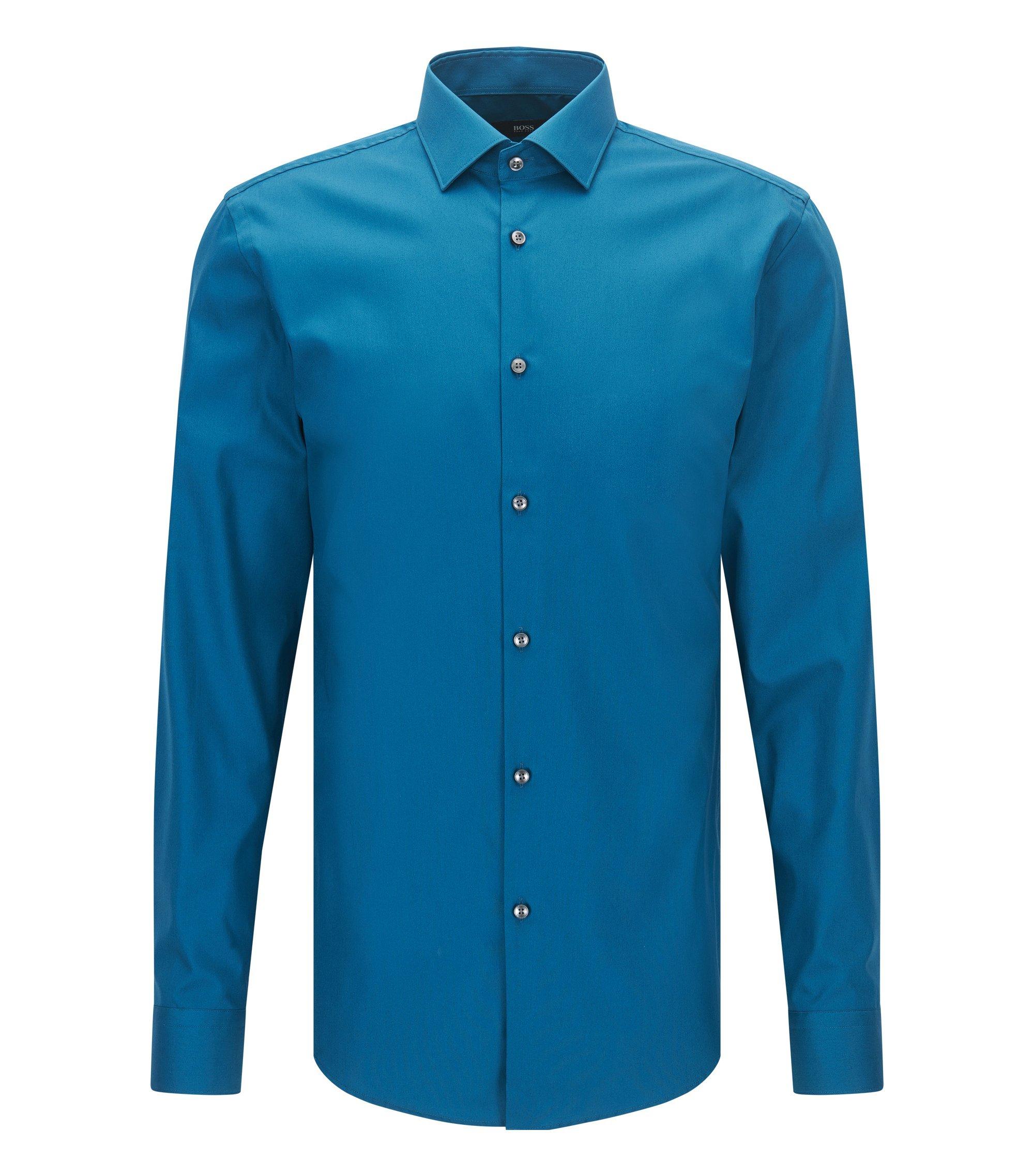 Chemise Slim Fit en popeline de coton autrichien , Turquoise