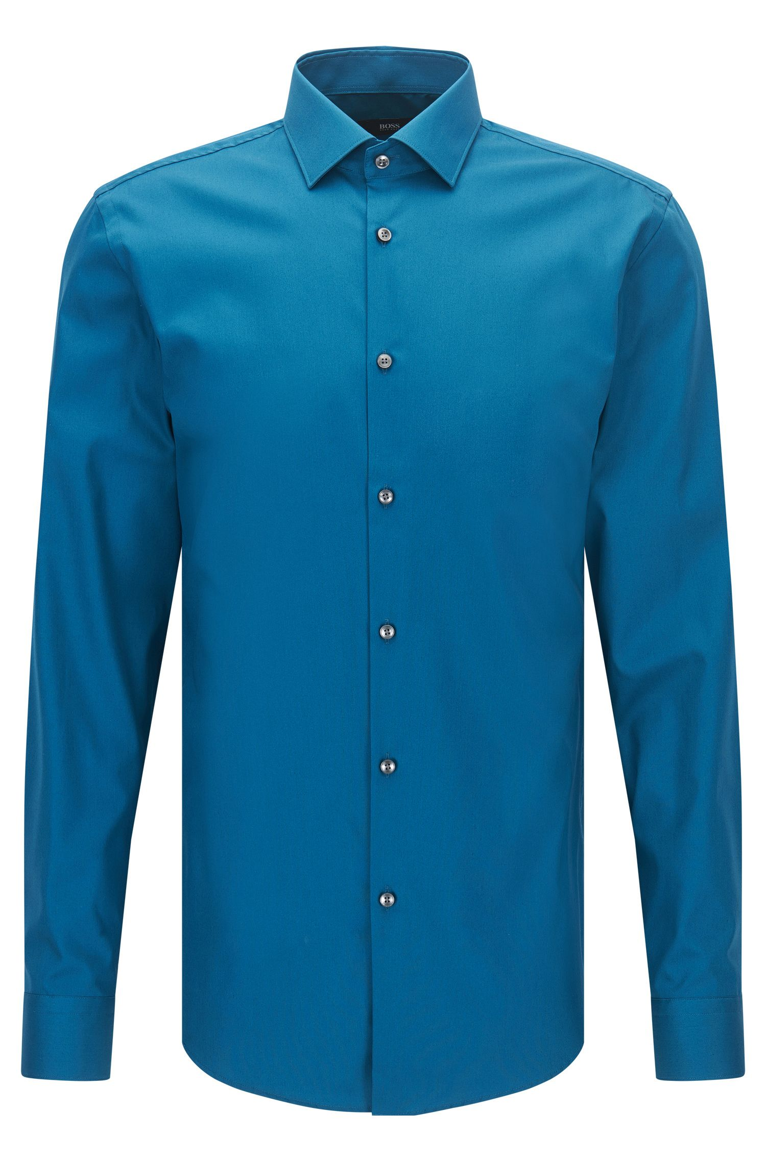 Plain slim-fit cotton poplin shirt