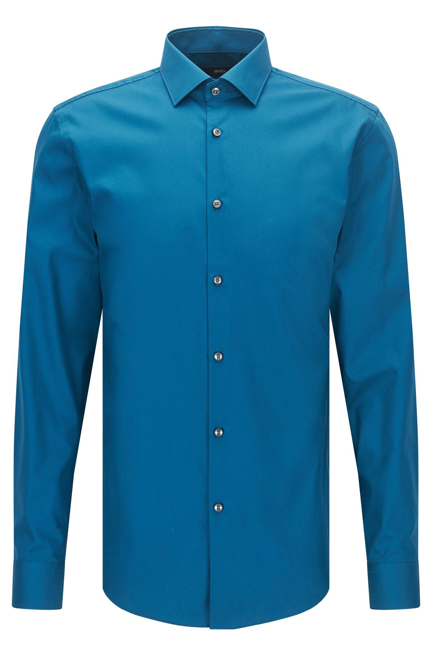 Unifarbenes Slim-Fit Hemd aus Baumwoll-Popeline