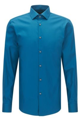Plain slim-fit cotton poplin shirt , Turquoise