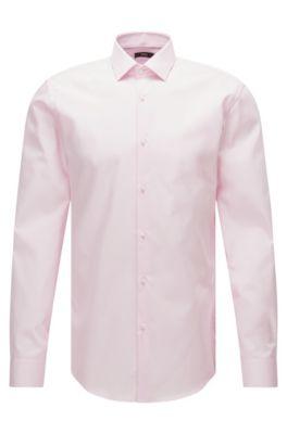 Unifarbenes Slim-Fit Hemd aus Baumwoll-Popeline, Hellrosa