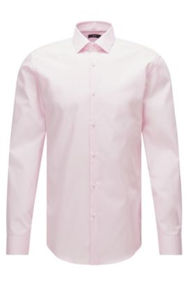 Plain slim-fit cotton poplin shirt , light pink