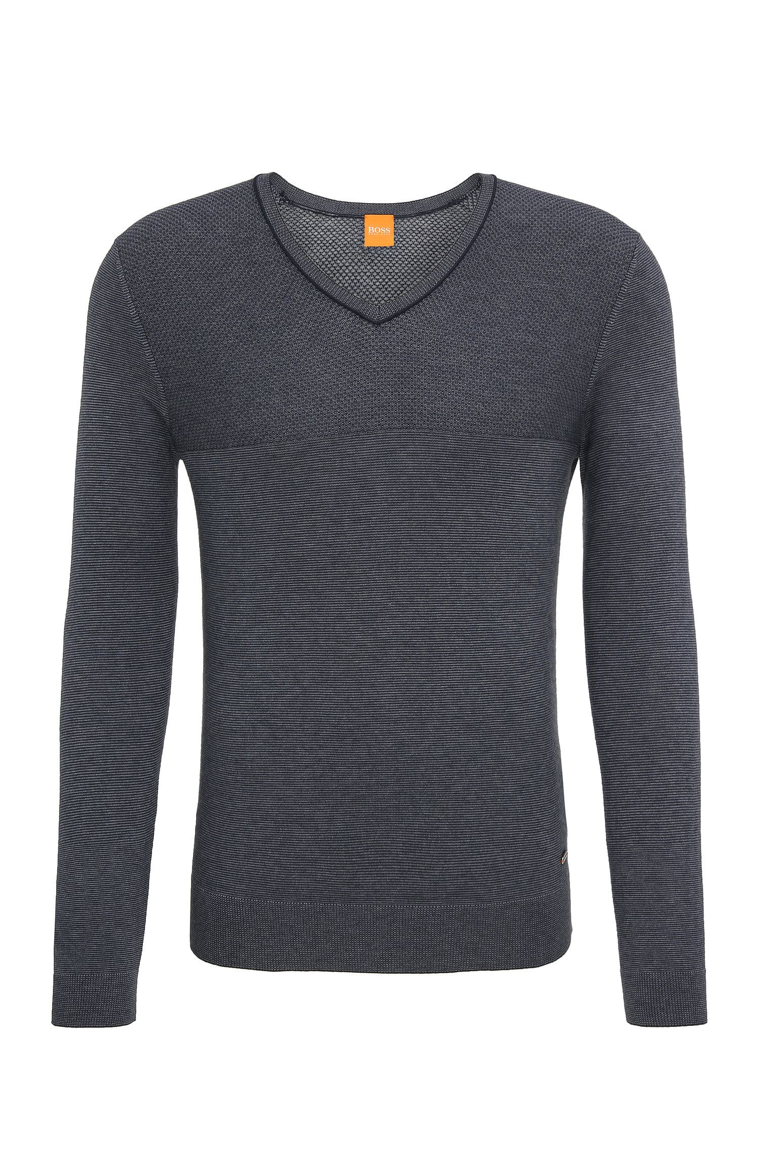 Regular-fit sweater in a cotton and silk blend