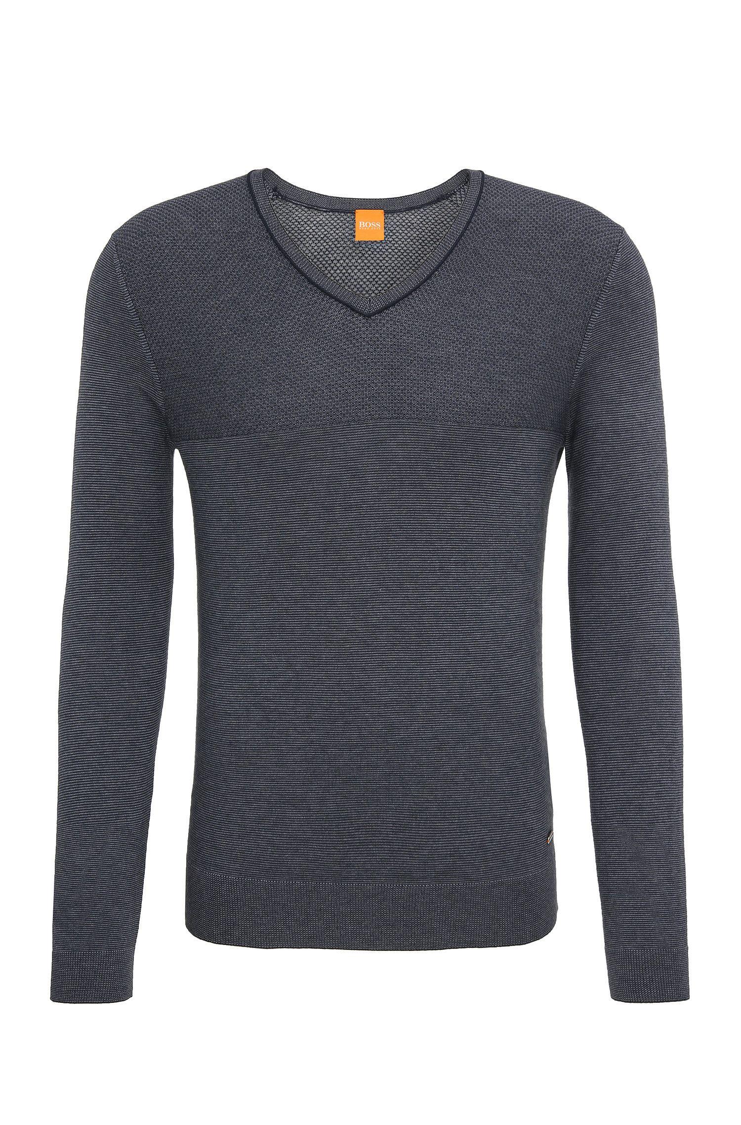 Regular-fit trui van een mix van katoen en zijde